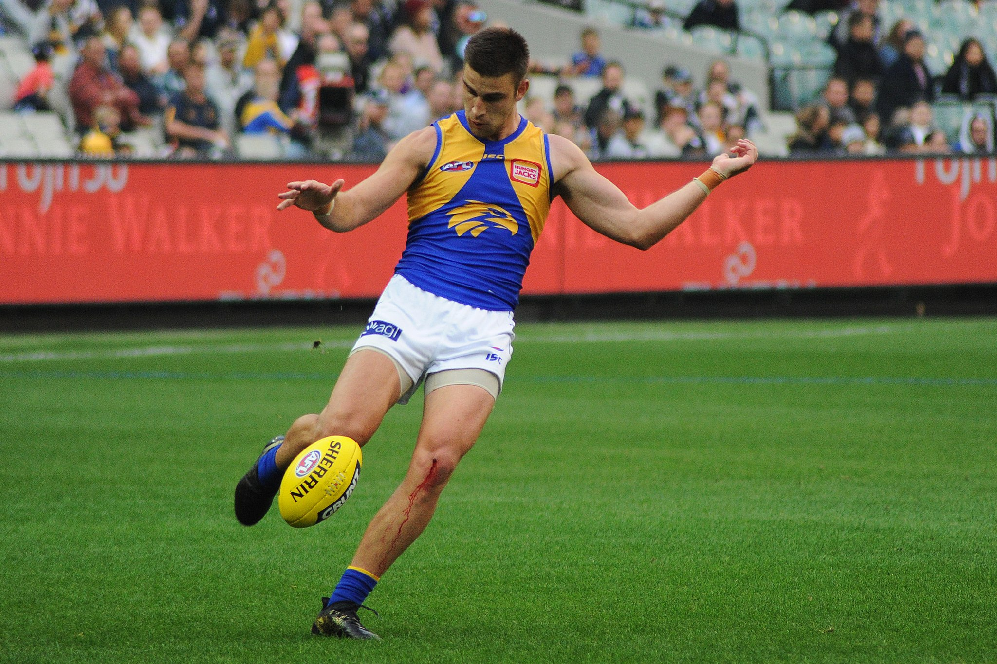 Elliot Yeo kicking during the AFL round five match between Carlton and West Coast on 21 April 2018 at the Melbourne Cricket Ground // Flickerd // (https://commons.wikimedia.org/wiki/File:Elliot_Yeo_kicking.1.jpg) // CC BY-SA (https://creativecommons.org/licenses/by-sa/4.0)